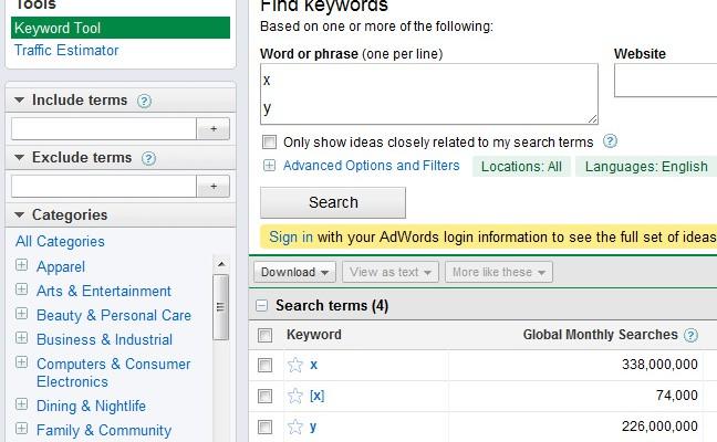 keyword research google adwords
